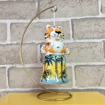 Колокольчик фарфоровый Тигр Рыся бамбук